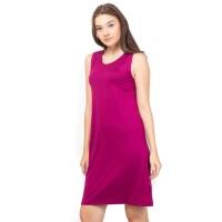 Lemone - T-shirt Cewe Spandek Premium Dress Wanita 12100079 Polos - Fuchsia, M
