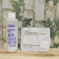Makarizo Paket Bleaching Rambut Concept + Oxydant Loreal 9%
