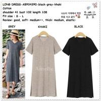 Casual Long Dress Midi Katun Korea Import AB934390 Grey Black Hitam