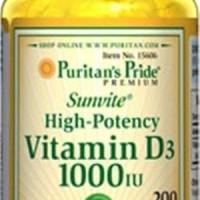 Puritan s Puritan Pride VITAMIN D3 D 3 1000IU 1000 IU 200 Softgels