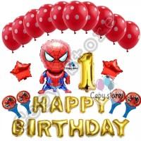 Balon foil set happy birthday / paket ulang tahun spiderman