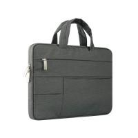 Tas Laptop Macbook Softcase Nylon Pocket Handstrap 11 12 inch -Abu Tua