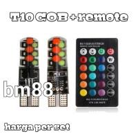 T10 Led COB RGB + Remote - Lampu MultiColor Silikon Canbus