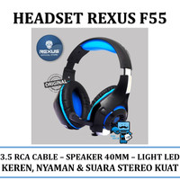 Headset / Headphone Gaming Rexus F55 F-55 Blue/Red With Led - Original
