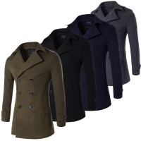 New Army Green Grey Navy Black Male Pea Coat Men Double Breasted