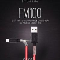 Kabel VIVAN FM-100 SPRING Kabel Data Cable 2.4A 1M Spring Micro USB