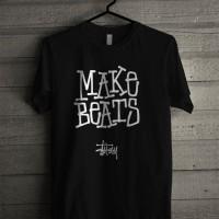 Kaos Distro T Shirt Make Beats Stussy Z7284