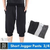 Jogger Pants 3/4 Polos Celana Training Sweatpants Murah HItam