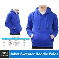 Jaket Sweater Polos Hoodie Jumper Biru