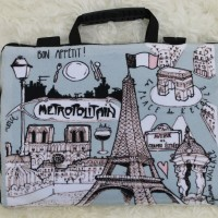 "Paris vintange full print10 inch 11""-12"" softcase tas laptop modis - 10 Inch"