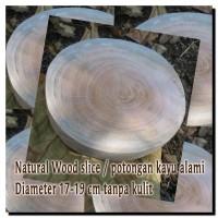 Potongan kayu alami wood slice tanpa kulit talenan hiasan dekorasi