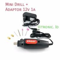 Bor pcb Mini Drill Kleber 7pcs + Adaptor 12v 1A Speed 12000Rpm