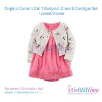 Original Carter's 2 in 1 Bodysuit Dress & Cardigan Set - Sweet Flower