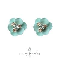 Korea Cocoa Jewelry Cherry Blossom - Anting Green Color