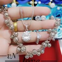 xuping set perhiasan kalung gelang cincin lapis emas putih 24k 0110