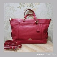 Tas Coach Lenox Satchel True Red Leather Original
