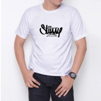 Kaos T-Shirt Distro Putih stussy W6187
