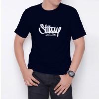 Kaos T-Shirt Distro Biru Navy stussy W6187