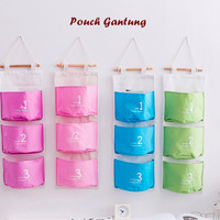 Pouch gantung 3 SEKAT Storage bag (Dilengkapi tali dan kayu) P30