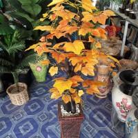 pohon bonsai daun anggur orange bunga artificial