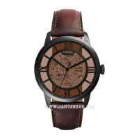 Fossil ME3098 Townsman Brown Skeleton Dial Dark Brown Leather Strap