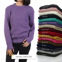 Sweater Roundhand Cewek Modis Baju Rajut Wanita Nanas Sweater Cewe