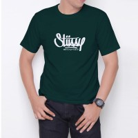 Kaos T-Shirt Distro Hijau Tua stussy W6187