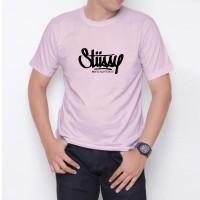 Kaos T-Shirt Distro Soft Pink stussy W6187