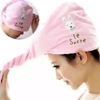 Handuk kepala motif, Handuk Keramas, Creambat, Hair Wrap Magic