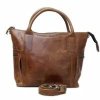 [L]Tas jinjing Wanita Kulit Sapi Asli coklat vintage slingbag leather
