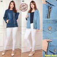 Megan Jumbo Jacket AJ12/Jaket wanita jumbo/Jaket Jeans retsleting/MRC