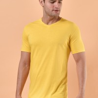 [BAMBOO COTTON] T Shirt / Kaos V Neck Polos Pria Katun Bambu - Yellow, S