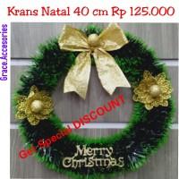 Krans wreth ring natal 40 cm hiasan gantungan pintu natal murah