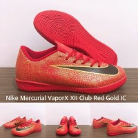 SEPATU FUTSAL NIKE MERCURIAL VAPORX XII CLUB RED GOLD IC