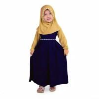 Baju Gamis Anak Perempuan Jersey Murah, Navy - Cream - S