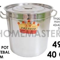 Panci Kuah/Kaldu/Stock Pot Stainless Tebal 2 mm 40 Cm/49 L DYT240