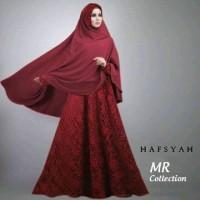 Gamis hafsyah 2 brukat full furing busui jilbab jersey fit xl ld 10