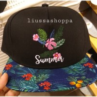 Topi Miniso - Simple Floral Embroidered Flat Visor Cap