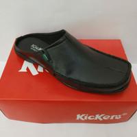 Sandal pria selop flat sepatu sendal slip on slop bahan kulit asli