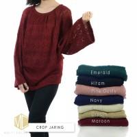 Sweater Cewek Modis Baju Rajut Wanita Crop Jaring Sweater Cewe