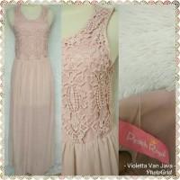 Long maxi dress kawai dusty pink peach kawai Royal import crochet