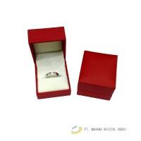 Kotak cincin Kulit merah mini