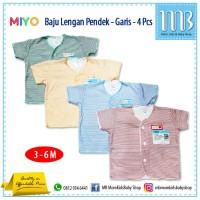 Baju Bayi Lengan Pendek MIYO Motif Garis - 4in1 - Sleepsuit Atasan