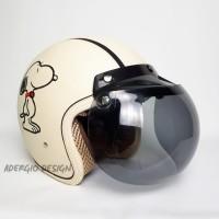 Helm Bogo Retro Klasik SNI - Full Kulit Motif Snoopy Cream