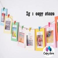 Frame Foto Gantung / Wooden Clip Photo Frame 4R Mix Warna