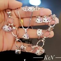 xuping set perhiasan kalung gelang cincin lapis emas putih 1460