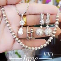 xuping set perhiasan kalung gelang cincin lapis emas putih 24k 1226