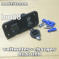 Voltmeter + Dual USB Charger Model Tanam - NMAX dll
