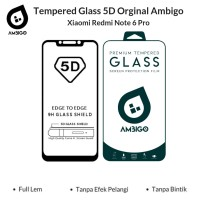 Tempered Glass 5D Xiaomi Redmi Note 6 Pro Full Cover Ambigo - Hitam