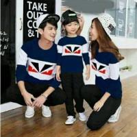 Baju Family Couple | Kaos Pasangan Keluarga Fendi Navy 11143